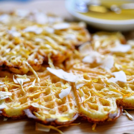 Almond Waffles with Lemon & Chia Seeds