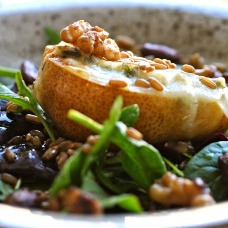 Pear and Gorgonzola salad with rye berries and lemon-roasted nuts
