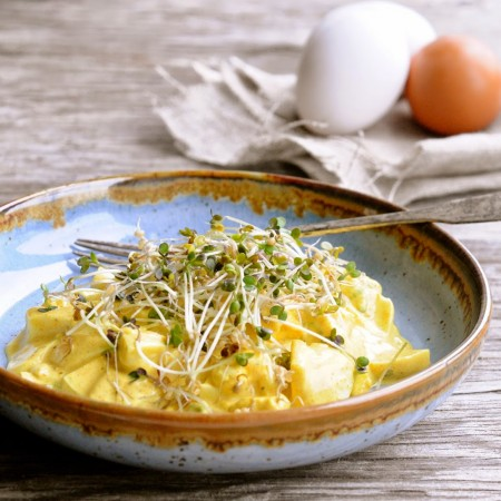 Egg salad with Mustard Sprouts