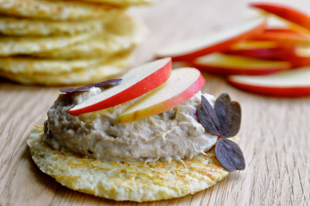 cauliflower blinis with mackerel