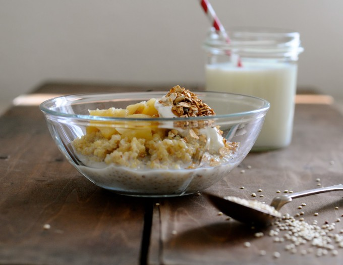 Quinoa Porridge with Applesauce, Skyr and Honey Toasted Muesli