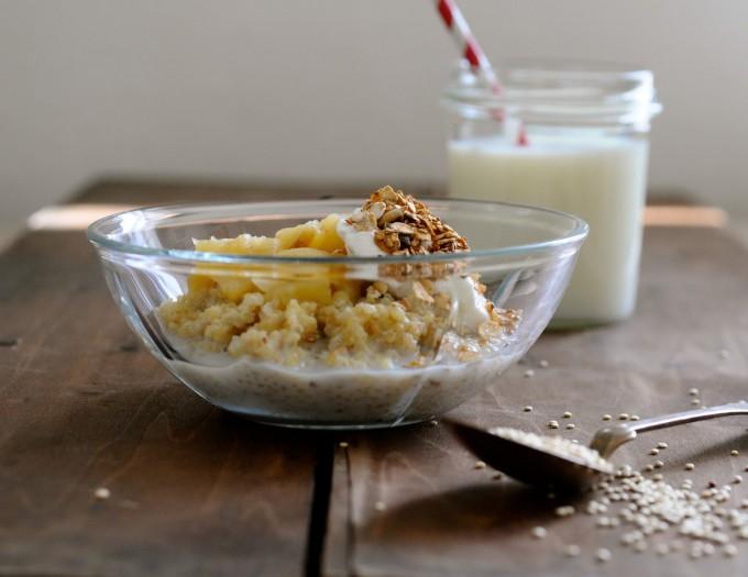 Quinoa Porridge with Applesauce, Skyr and Honey Toasted Muesli