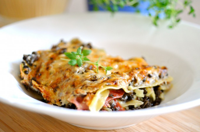 Lasagna with Lentils, Bacon and Cauliflower Béchamel Sauce