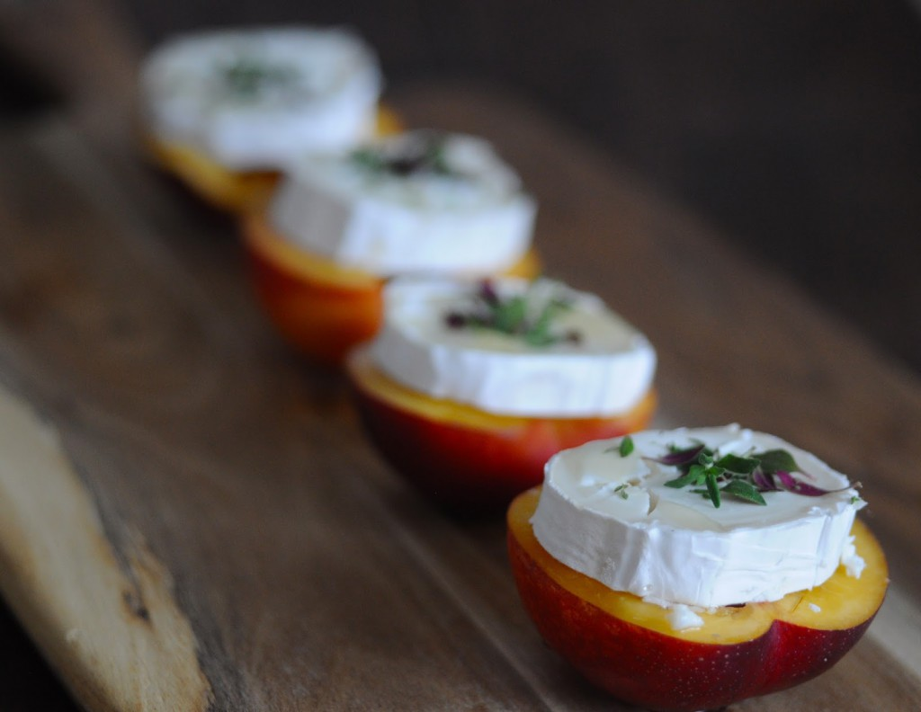 Baked Nectarines with Goat Cheese