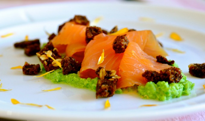 Pea Purée with Smoked Cheese, Smoked Wild Salmon & Rye Bread Croutons