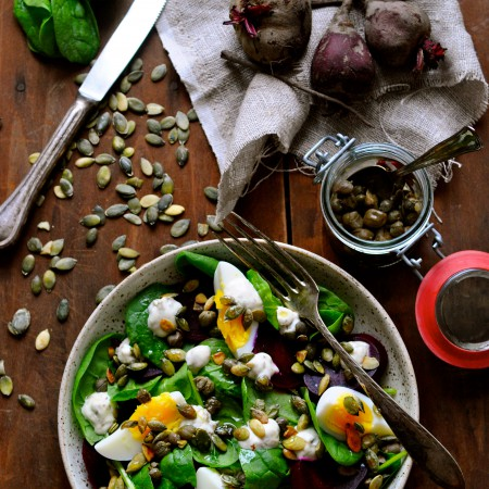 Beetroot salad with capers mayonnaise