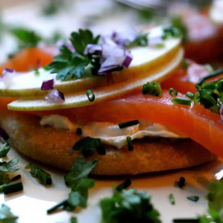 Chickpea Flatbread with Icelandic Salmon