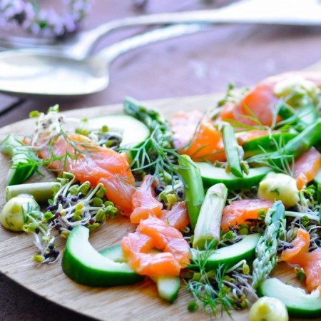 Salmon salad with dill mayo