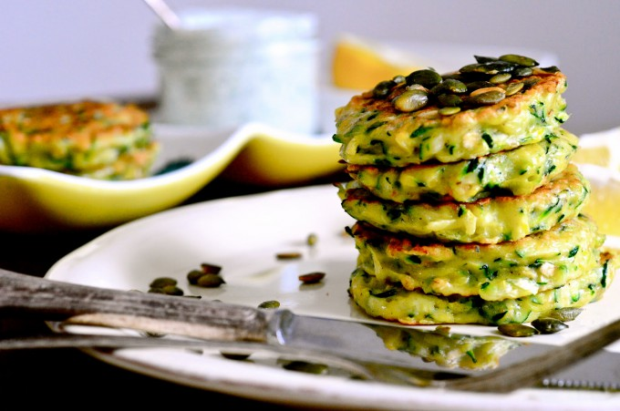 Zucchini Pancakes with Dill sour cream and toasted pumpkin seeds