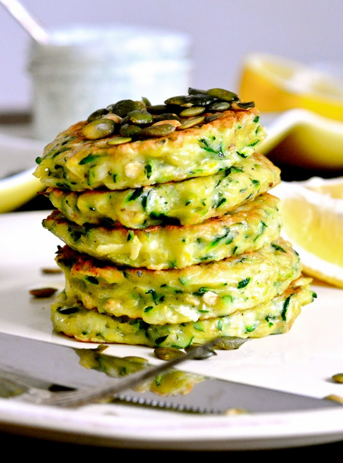 Zucchini pancakes with dill sour cream and pumpkin