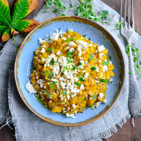 Pumpkin risotto with pearl barley and feta cheese | www.karlasnordickitchen.com
