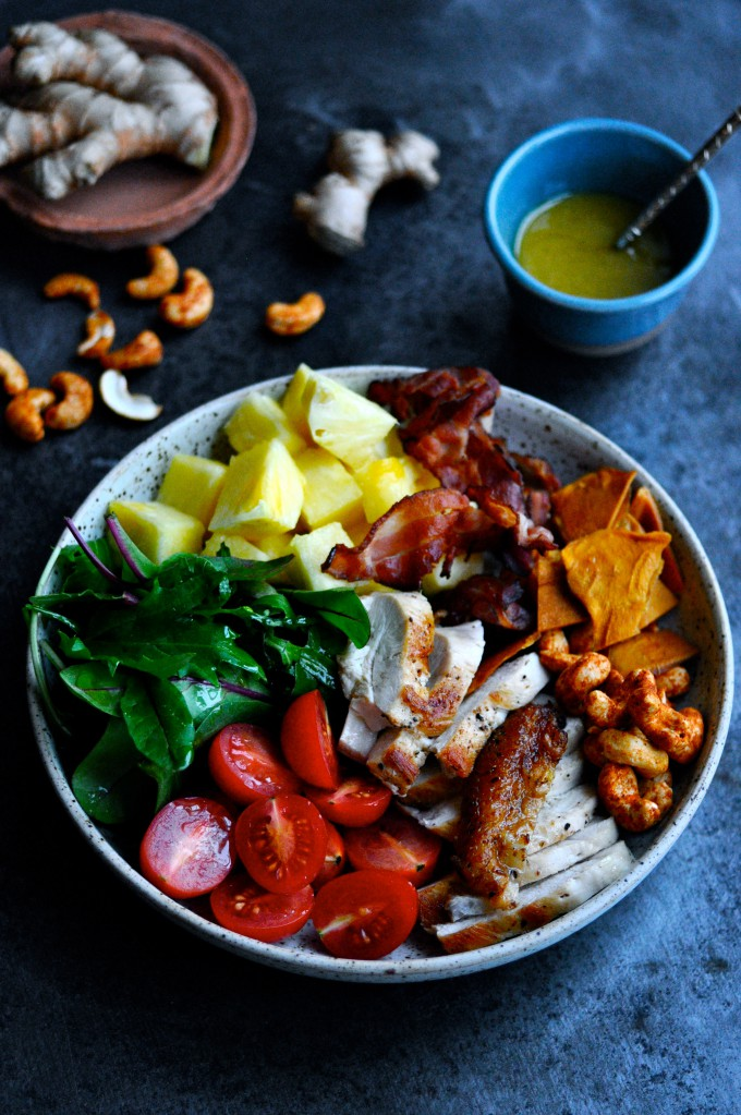 Healthy Salad Bowl With Chicken And Pineapple Karlas