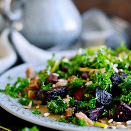 Kale salad with beets and sunflower seed butter