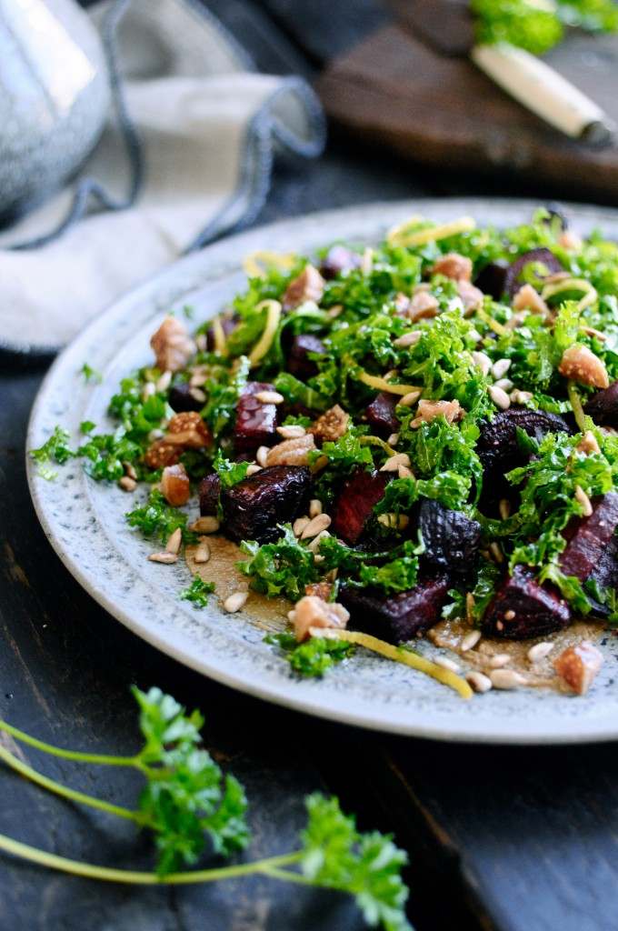 Kale salad with beets and sunflower seed butter | Karlas ...