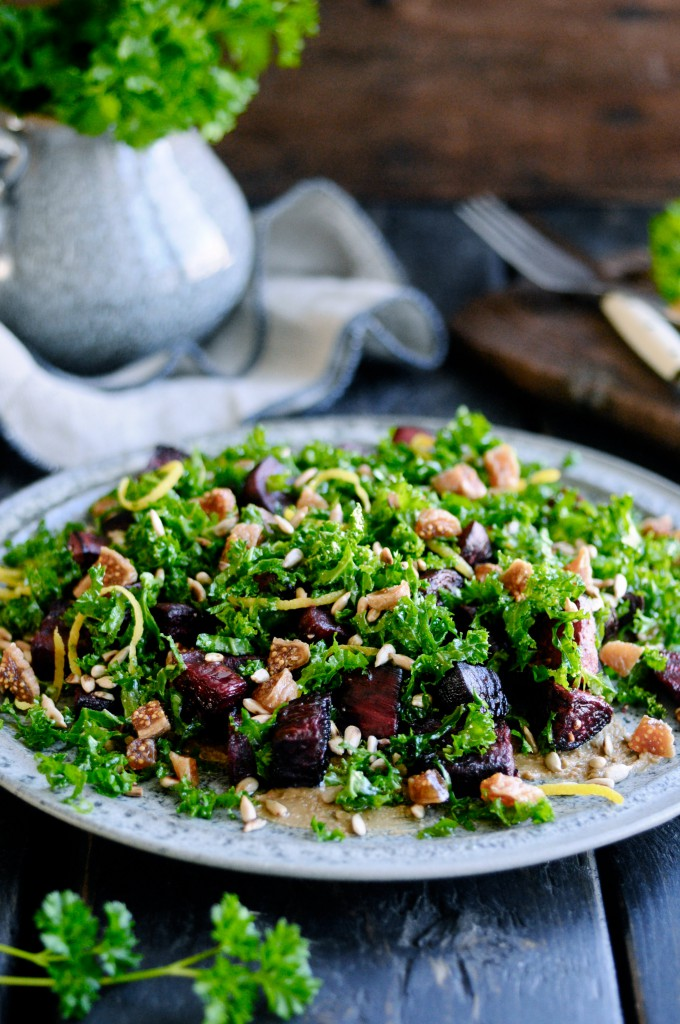 Kale salad with beets and seeds