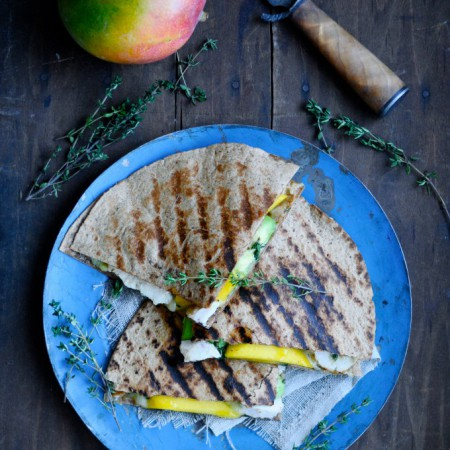 Chicken and cheese rye quesadilla with mango