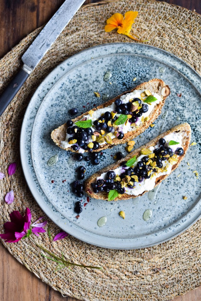 Ricotta toast with wild blueberries from karlas nordic kitchen