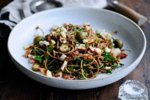 Whole Grain Spaghetti Recipe with Bacon and Kale