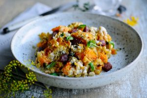 Barley risotto with pumpkin and chorizo