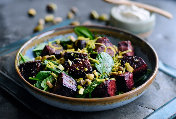 Baked beetroot salad with lemon ricotta