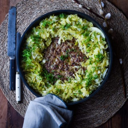 Skillet meatloaf with sauteed cabbage