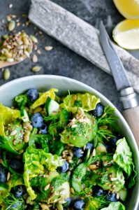 Green Salad with Blueberries and topping