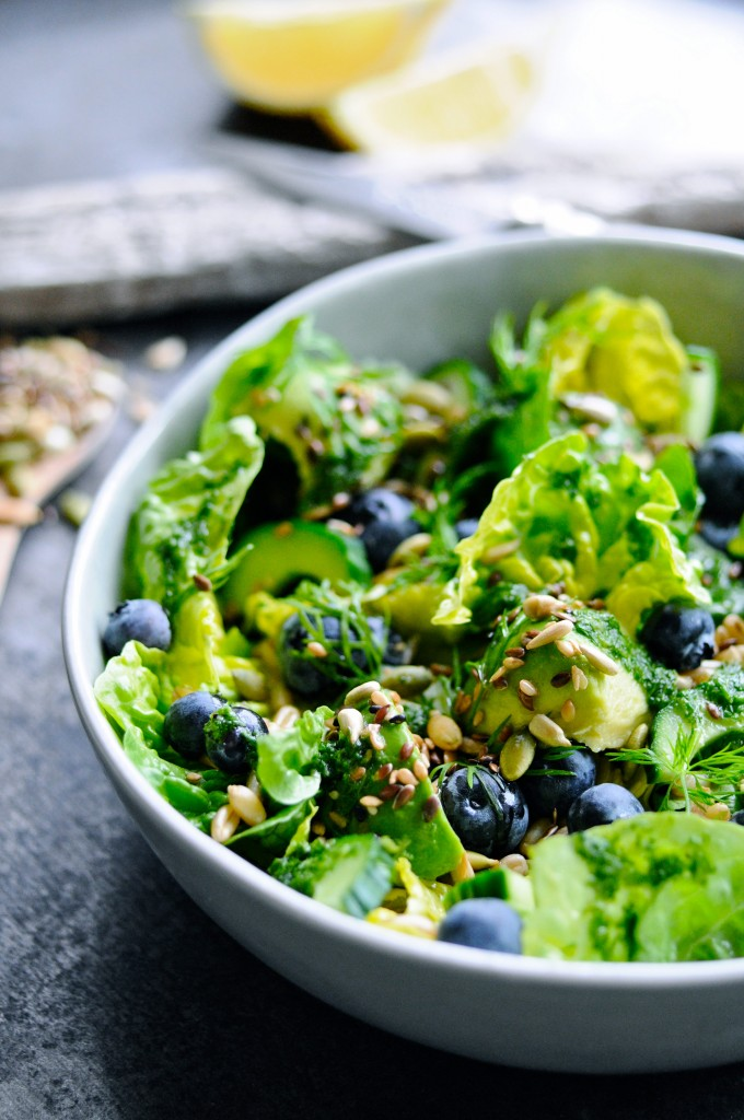 Green Salad with Blueberries and grains