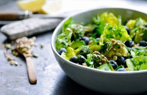 Green Salad with Blueberries in a bowl