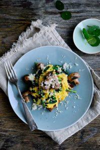 Healthy Scrambled Eggs with Mushrooms on Rye bread
