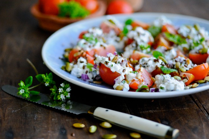 cottage cheese salad with cherry tomatoes