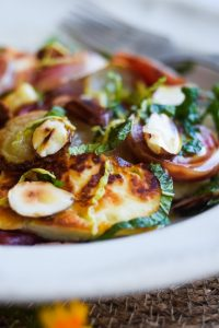 Candy striped beets with halloumi salad