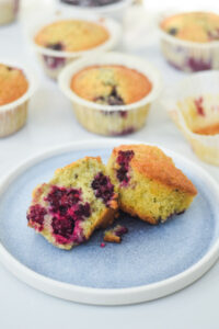moist Blackberry muffins with coconut and cardamom