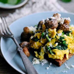 Healthy Scrambled Eggs with Mushrooms on a plate
