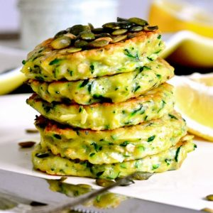 Zucchini Pancakes with Dill Sour Cream
